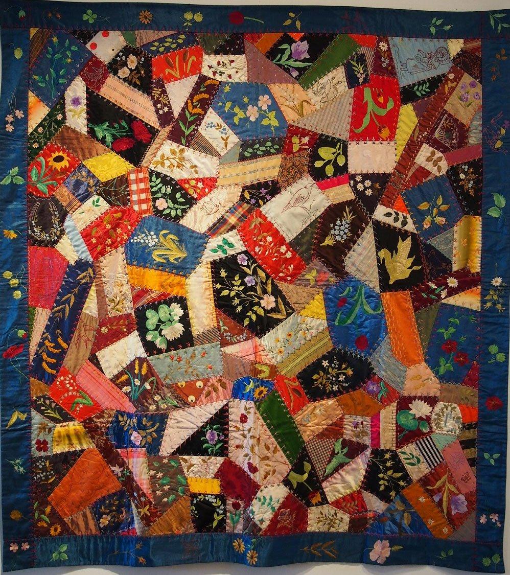 Floral embroidered allover crazy antique quilt persian