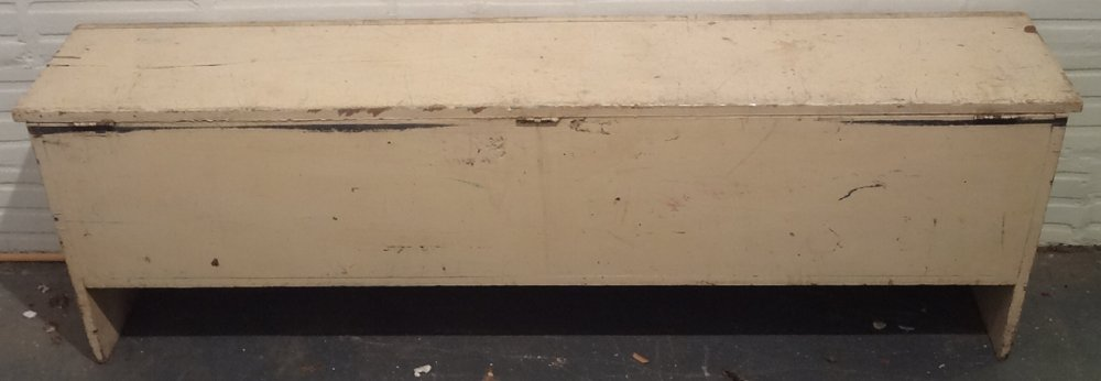 LIFT TOP ANTIQUE LONG STORAGE BENCH Old White Paint