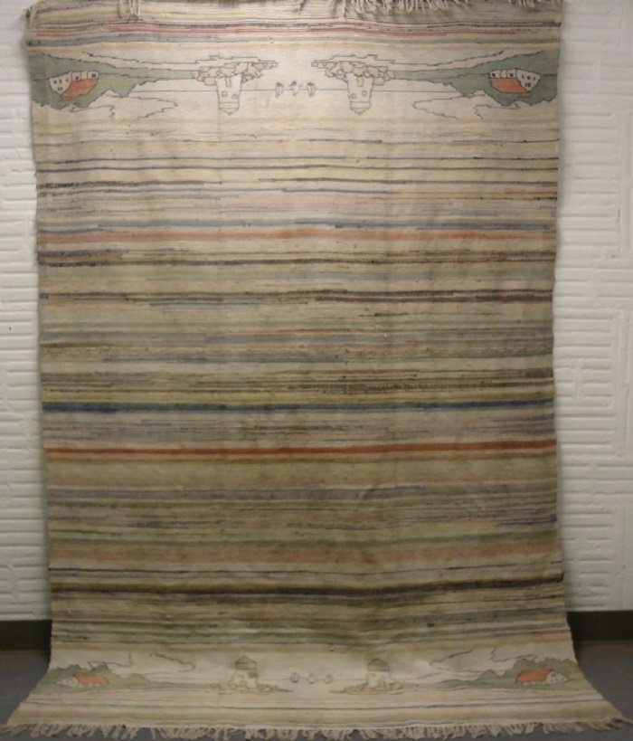 RAG CARPET RARE PICTORIAL SEASIDE SCENES ROOM SIZE ANTIQUE