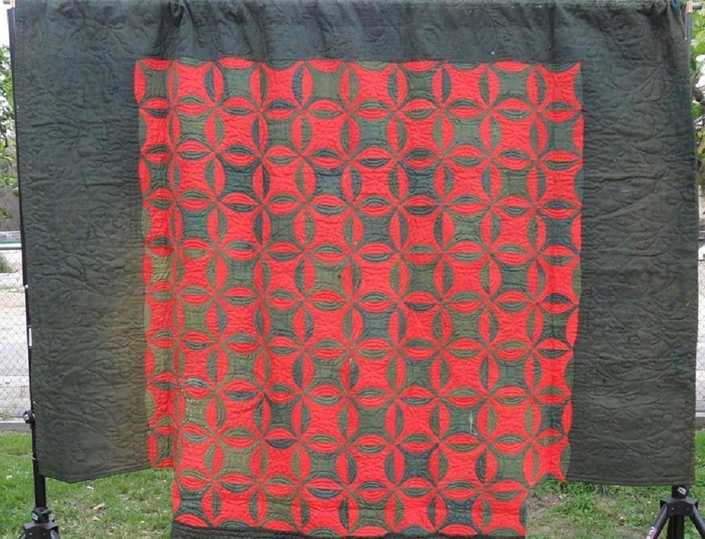 LINSEY WOOLSEY REEL PATTERN ANTIQUE QUILT