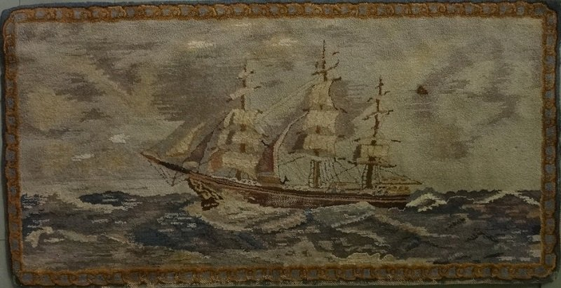 SAILING SHIP ON SAILCLOTH ANTIQUE HOOKED RUG