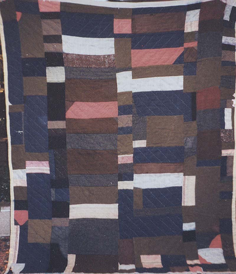 AFRICAN AMERICAN WOOL SUITING PIECED BARS VINTAGE QUILT