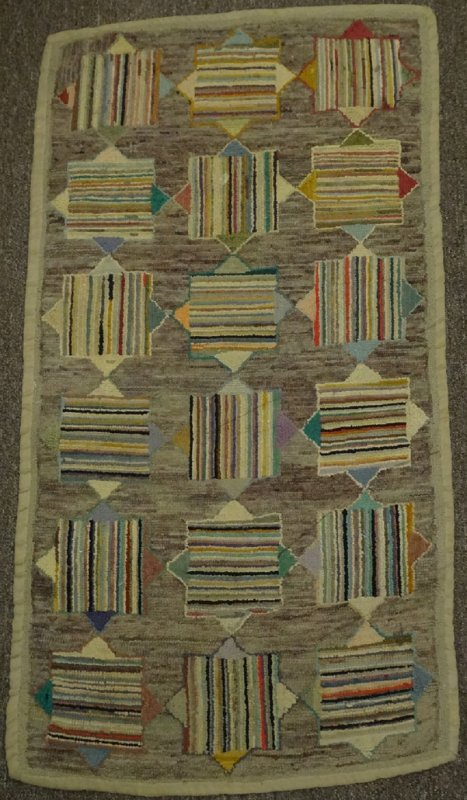 STRIPED SQUARES OVER SOLID DIAMONDS ANTIQUE HOOKED RUG