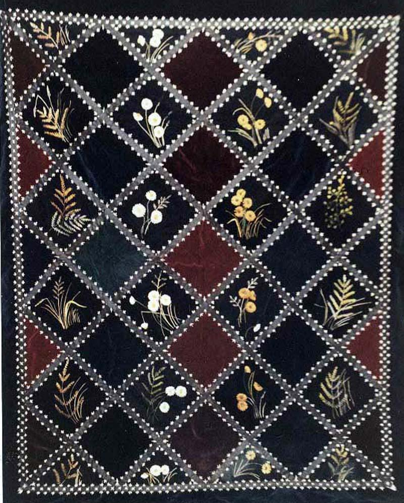 Velvet wildflowers and grasses embroidered antique quilt