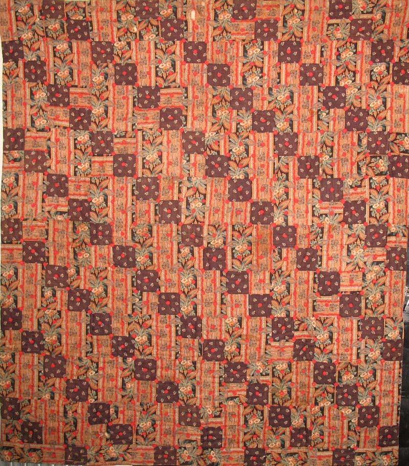 Four Patch Straight Furrow Antique Quilt Paisley Esque