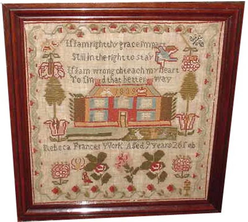 ANTIQUE SAMPLER, REBECA FRANCES 1839