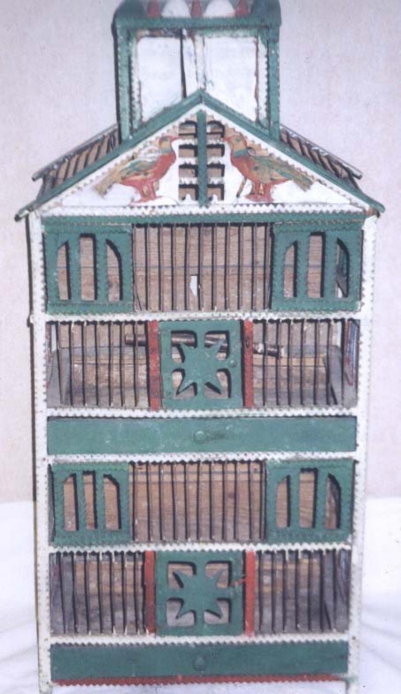 Tramp art birdcage