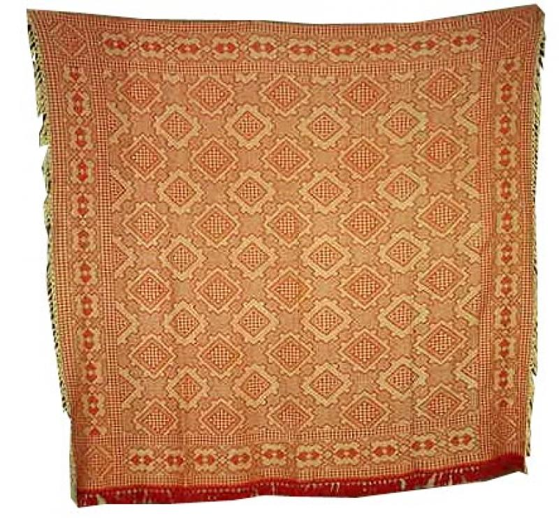 AMISH OVERSHOT COVERLET IN MULTI- DIAMONDS