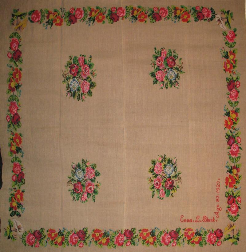 LINEN HOMESPUN ANTIQUE BEDSPREAD, FLORAL NEEDLEWORK, signed, Lancaster Co