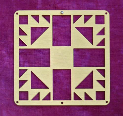Barn Quilt Brass Mini--Bear's Paw Block