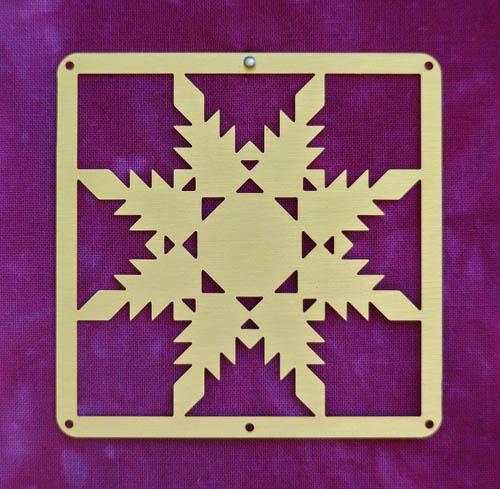 Barn Quilt Brass Mini--Feathered Star Block