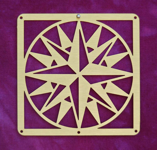 Barn Quilt Brass Mini--Mariner's Compass Block