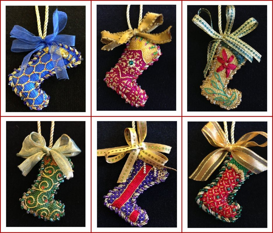 Miniature Christmas Socks Individually Kitted.  See them All!